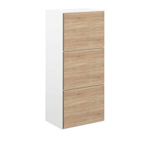 Marchio Amazon -Movian Odiel - Scarpiera, 50 x 33.1 x 118.7 cm (L x P x A), colore bianco e quercia
