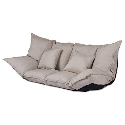 Ribelli 2 Sitzer Hikui Futon Schlafsofa im Japanischen Stil Sofa mit Schlaffunktion 100 x 150 cm (Sofa, Creme)