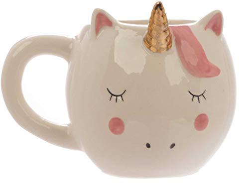 Crema Unicornio con Dorado Cuerno Taza Niña Mejor Amigo Cumpleaños Navidad Daughter Regalos Calcetín Rosa Blanco