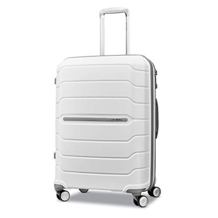 Samsonite Freeform Hardside Expandable with Double Spinner Wheels, White, Checked-Medium 24-Inch