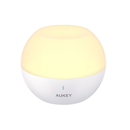 AUKEY Veilleuse Enfant,touch Lampe de Chevet rechargeable, Changement de Couleur RVB & Lumière Blanche Réglable avec Etanchéité IP65 & Lampe de Table Tombeé-Résistante (LT-ST23)
