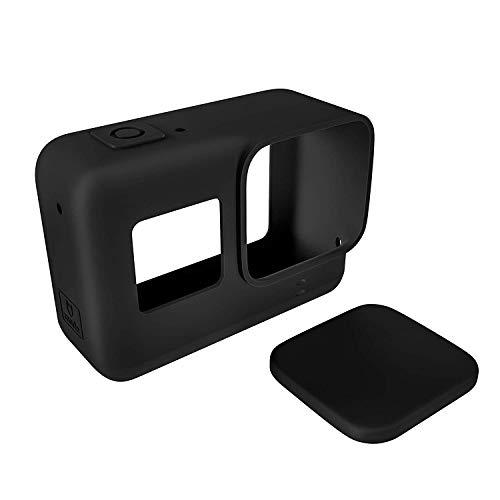 Linghuang Custodia protettiva in silicone per GoPro 7 Black 6 5 con copriobiettivo, protezione contro sporco, polvere e graffi per GoPro Hero (2018) 7 Black /6/5 Nero