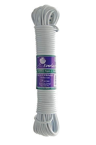 Everlasto Kleenwash, Filo stendibiancheria in PVC Bianco, 30 m, Spessore 4,8 mm (Circa)