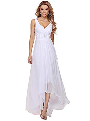 Simple Chiffon Wedding Dress with High-Low Hemline and Decorative Brooch There is something sultry about this simple, modern wedding dress. The high-low hemline is flirtatious yet classic ¨C perfect for showing off whatever shoes you choose to wear. ...