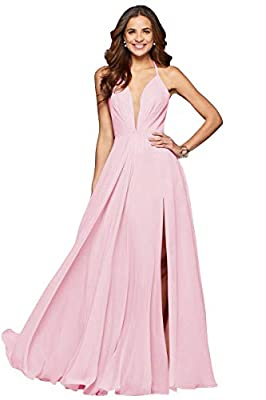 Sexy deep v-neck and backless design, halter spaghetti straps, column/straight silhouette, side slit, floor length, invisible bra inside, lace up back, fully lined, boned This formal gown has many sexy elements, such as deep v-neck, backless and side...