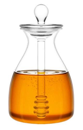 Mkouo Honigtopf Glas Honigglas mit Schöpflöffel and Deckelabdeckung for Home Kitchen, Clear,14 Ounces