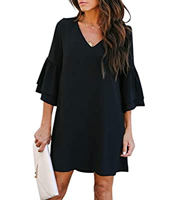 Features: short dress, V-neck, bell sleeve, shift dress, sweet & cute, soft and attractive Material: Made of high quality and high density chiffon with non-elasticity and breathability. Please refer to the above size informations for details Occasion...