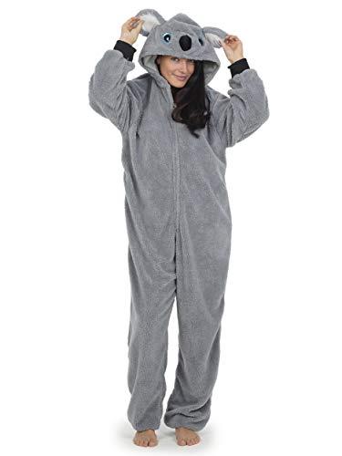 Pijama Entero Mujer con Unicornios Koala Perro Gato Koala Dinosaurio Pijamas de Animales Onesie Todo en Uno (L, Koala Gris)