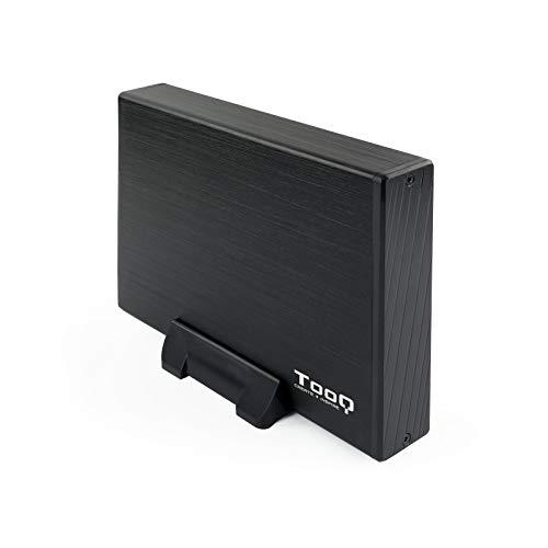 TooQ TQE-3527B - Carcasa para discos duros HDD de 3.5', (SATA I/II/III, USB 3.0), aluminio, indicador LED, Color Negro