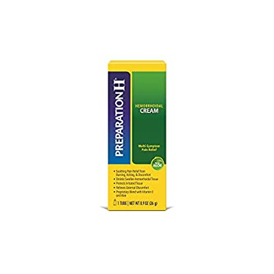 Includes one 09 Ounce tube of Preparation H Maximum Strength Hemorrhoid Pain Relief cream The only over the counter hemorrhoid treatment cream with maximum strength pramoxine for multi-symptom relief Proprietary hemorrhoid cream blend with vitamin E,...