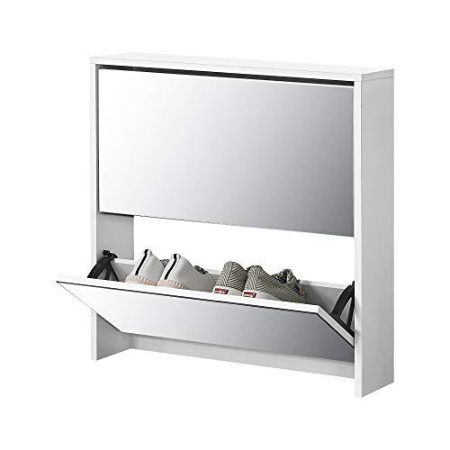 [en.casa] Zapatero con Espejo 67 x 63 x 17 cm Mueble...