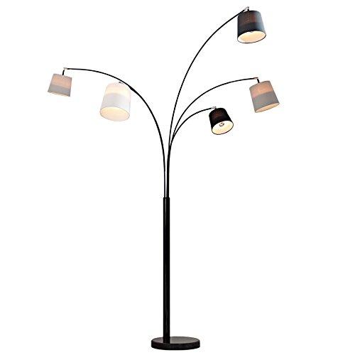 Design Bogenlampe LEVELS schwarz glänzend Marmorfuß Stehleuchte Leuchte Lampe Wohnzimmerlampe