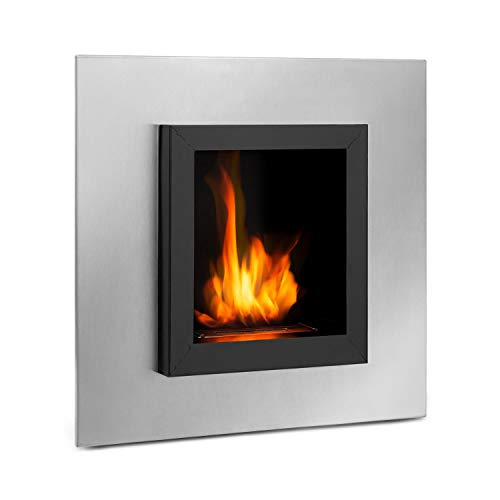 Klarstein Phantasma Cuadro Ethanol Fireplace - Smokeless & Odourless, Stainless Steel Bio-Ethanol Burner, Recessed Wall, 600 ml Tank, Approx. 4 Hours Burn Time, Extinguishing Aid, Black/Silver
