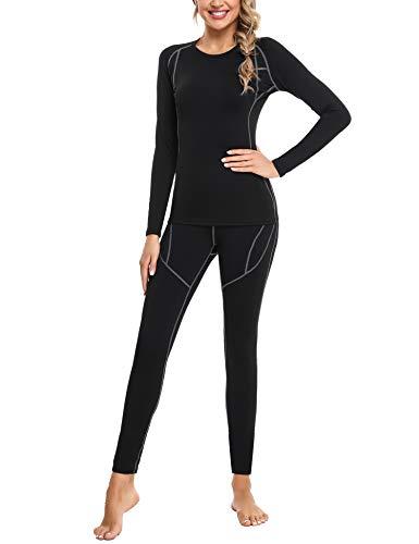 Sykooria Women's Long Thermal Underwear Fleece Lined Base Layer Top & Bottom Black