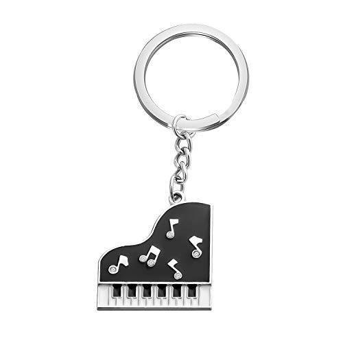 CHOORO Grand Piano Keychain Black and White Keyboard Keyring...