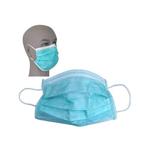 50 maschere per il viso blu a 3 strati in stile chirurgico, protezione da polvere, allergie e sigillate sottovuoto