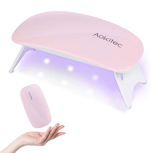 Aokitec Mini UV LED Nail Lamp, Portable Gel Light Mouse Shape Pocket Size Nail Dryer with USB Cable for all Gel Polish(Pink)