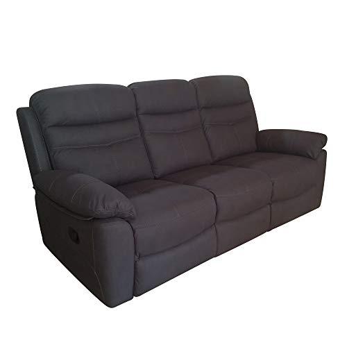 R R DESIGN Divano a 3 posti Relax Motore Elettrico reclinabile Tessuto Modello Leone Colore Nero