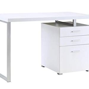 Coaster Home Furnishings Coaster Contemporary White Writing Desk with File Drawer and Reversible Set-Up, 47' W x 24' D x 30' H