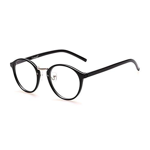 Cyxus Gafas de Clásico Moda para Hombres/Mujeres Lentes Transparentes Unisexo Vidrios Ordinarios Marco Ligeras y Cómodas (Retro Redondo Marco Negro 8065)