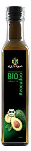 Kräuterland - Bio Avocadoöl 250ml - 100% rein, kaltgepresst, nativ, vegan - zum Braten und Grillen - für Fisch, Fleisch, Dips, Salate, Dressings - auch für Haut und Haare(250ml)