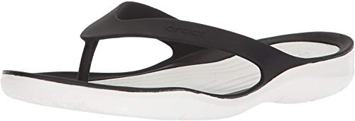 Crocs Swiftwater Flip Mujer, Black/White, 41/42 EU