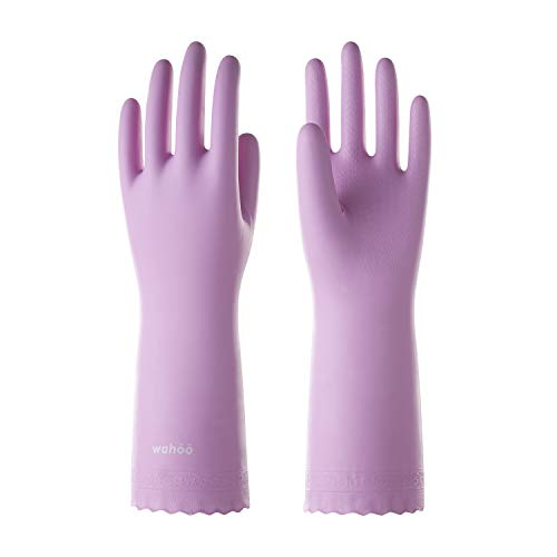 LANON Wahoo Series PVC Household Cleaning Gloves, Reusable Dishwashing Gloves, Waterproof, Non-Slip, Medium