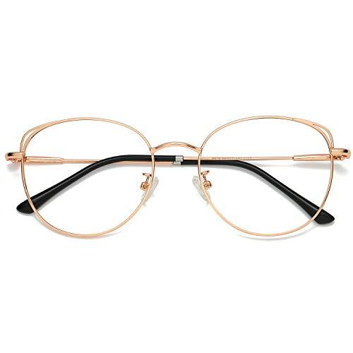 SOJOS Runde Brille Damen Blaulichtfilter Katzenaugen Computer-Gläser Handgemacht Hochwertig SJ5027 mit Rose Gold Rahmen/Anti-Blaulicht Linse