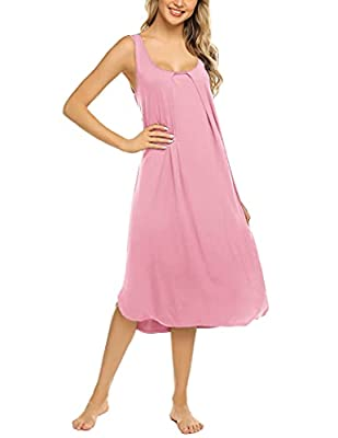 The soft nightgown is made of 95% Rayon, 5% Spandex, super soft breathable fabric for women to wear, this tank nightgown designed to have a lounge relax with charming looking. The tank dress sleepwear is featured with pleated chest and split swing, s...