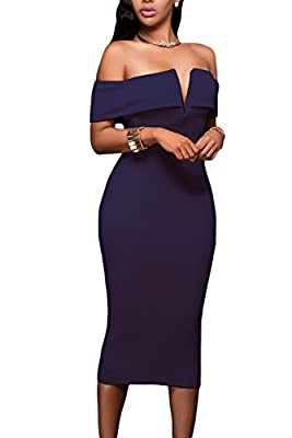 Featuring an off-the-shoulder neckline with V cut padded bust and flattering midi silhouette in a curve-hugging fit, back slit for convenient wear Center back zipper closure finished. Garment Care: Hand-wash and Machine washable, Dry Clean Sexy Club ...