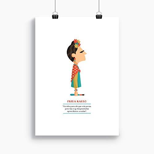 """Ilustración """"Frida Kahlo"""". Lámina disponible en dos medidas: A4 / A3. Incluye frase de la pintora mexicana."""