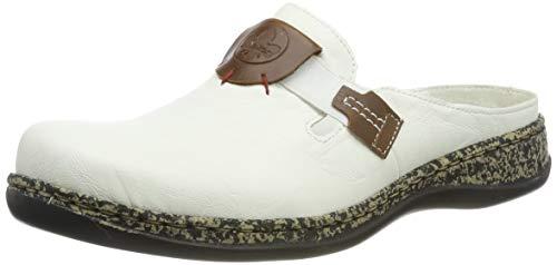 Rieker Damen 46396-80 Clogs, Weiß (Bianco/Mogano 80), 40 EU