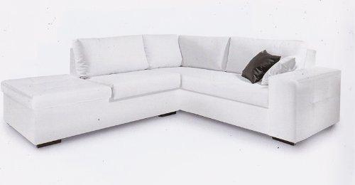 Ponti Divani - LENNY - Offerta divano angolare con pouf Produzione Italiana Ecopelle Bianca