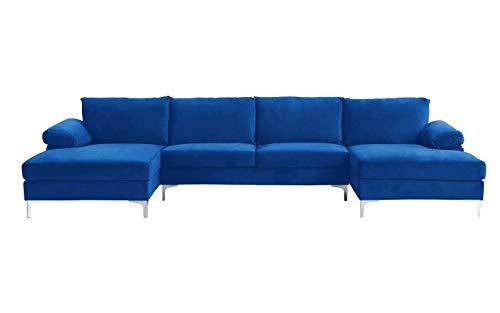BHDesign Amanda XL New Divano angolare Panoramique Xtra Large Moderno Velluto Colore Blu