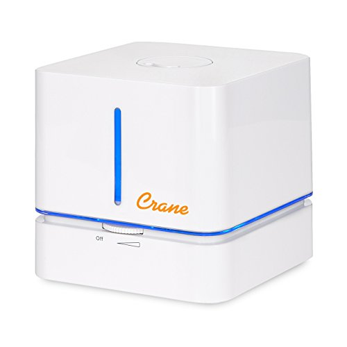 Crane Cube Personal Ultrasonic Cool Mist Humidifier, for Home Bedroom Hotels Travel and Office, 0.5 Gallon, Filter Free, White (EE-5400)