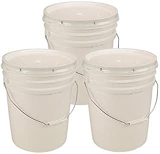 Living Whole Foods 5 Gallon White Bucket & Lid – Set of 3 – Durable 90..