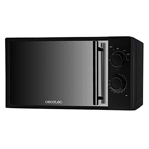 Cecotec AllBlack - Microondas, Capacidad de 20l, 700 W de Potencia, 6 Niveles Funcionamiento, Temporizador 30 min, Modo Descongelar, Color Negro