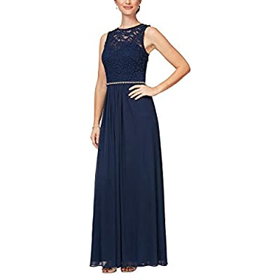 """Long Sleeveless A-Line Dress with Embellished Waist Detail Glitter Lace Bodice with Illusion Sweetheart Neckline Bra Cups Center back length: 56. 25"""" Style #81122338"""
