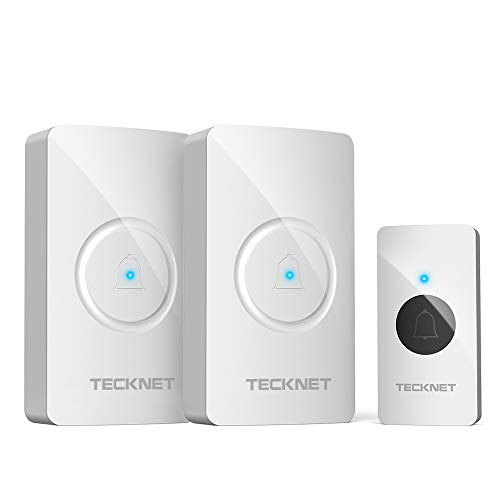 Wireless Doorbell, TeckNet Waterproof Door Bell Chime Kit Operating at 1000 Feet with 2 Plug-In Receivers 38 Chimes, 4 Volume Levels & LED Light Flash (White)