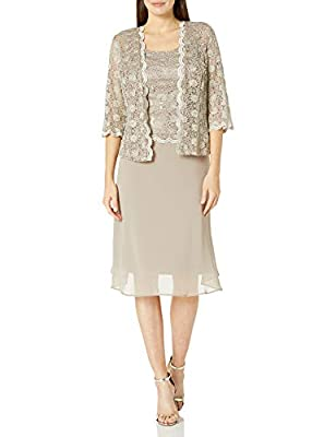 R and M Richards this jacket dress features allover lace jacket with 3/4 sleeves and scalloped open front Laced and sophisticated