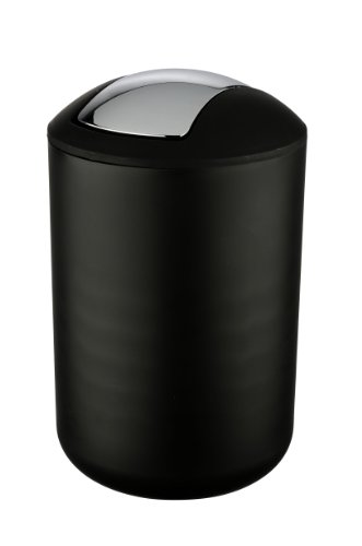 Wenko Kosmetikeimer Brasil L 6,5 Liter, Badezimmer-Mülleimer mit Schwingdeckel, Abfalleimer aus bruchsicherem Kunststoff, Ø 19,5 x 31 cm, schwarz