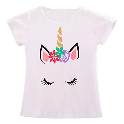 TTYAOVO Camiseta para niñas Unicornio, Camiseta de Manga Corta de Verano Camiseta para Imprimir de Unicornio Linda para niñas Tamaño 6-7 años Blanco