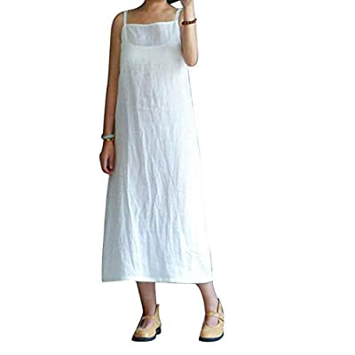 Material: Cotton Linen Solid color, great as bottoming dress. Package Includes: 1 x Dress Breathable cotton linen made, comfortable to wear. Dress Length: Full Length Suitable for work, beach, holiday or just daily wear. Sleeve Length: Sleeveless We ...