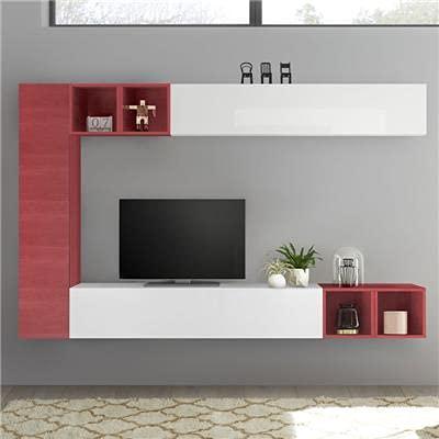 Mobile da parete per TV, colore: bianco laccato e rosso LIZZANO