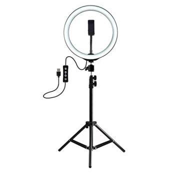 BJYXSZD Professional Ring Light 16Cm with Tripod Stand Cell Phone Holder, Powered by USB, Brightness Adjustable Fill Light Beauty Lamp