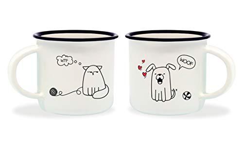 Legami Dog & Cat Tazzine da caffè, Bone China, Multicolore, 5.5x5.5x5 cm, 2 unità