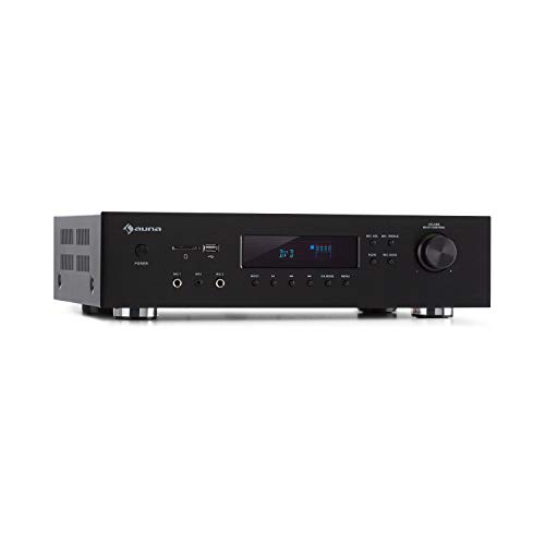 AUNA AMP-H260 5.1 - Récepteur Amplificateur Égaliseur, 2 x 100 W + 3 x 20 W RMS, Fonction Bluetooth, Port USB, Lecteur SD, Opt. & coaxial. Digital-in, 2 x HDMI-in / 1 x HDMI-Out - Noir
