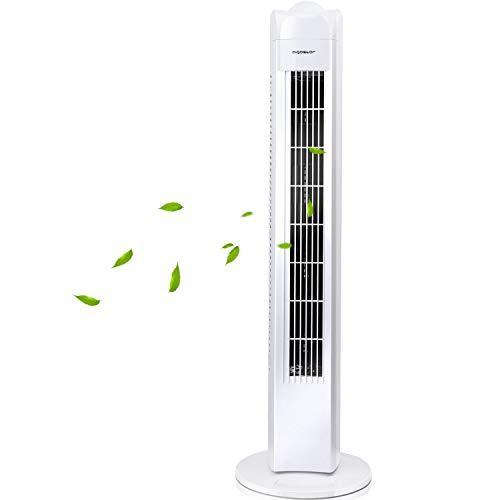 Aigostar 33QRV - Ventilatore a torre oscillante 50W, ventola di raffreddamento da 3 velocità per ufficio e casa, cavo lungo 180cm e altezza 77 cm, maniglia per il trasporto. Colore bianco