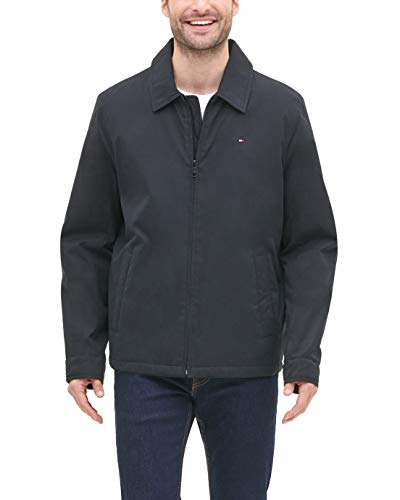 Tommy Hilfiger Men's Micro-Twill Open Bottom Zip Front Jacket, Black, Medium
