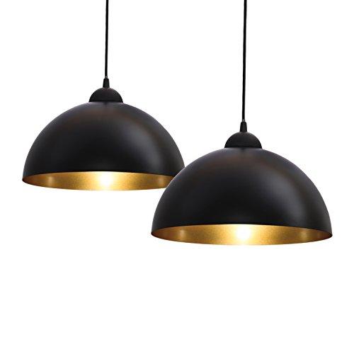 B.K.Licht Set de lámparas de techo colgantes para interiores, requieren bombilla E27 LED, max. 60 W, 230 V, índice de protección IP20, color negro y dorado